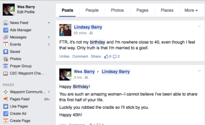 Lindsay's 40th Birthday Click and Post a Birthday Message to her Wall