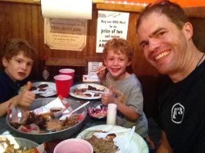 2 Boys, 1 Dad, & the BBQ sampler.